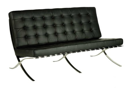 Black Leather Office Reception Two Seater Sofa - Barcelona Style