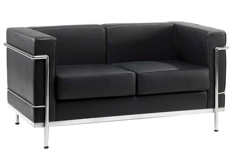 Retro Cube Black Leather Reception 2 Seater Office Sofa