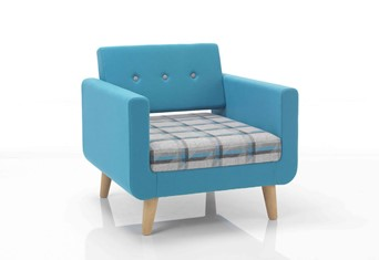 Liberty Chair - Blue Orange Wooden Tapered Leg