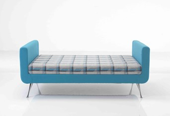 Liberty Two Seater Bench - Green Blue Chrome Tapered Leg