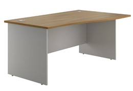 Duo Woodgrain Panel End Wave Desk