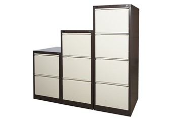 Steel Executive Filing Cabinets - Two Drawers Brown & Beige