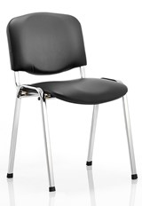 Vinyl Chrome Conference Chair - Black