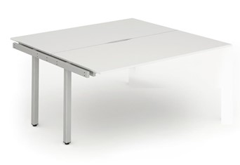 Portland Double Extension Desk - 1200mm White Silver