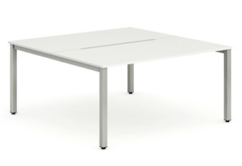 Portland 2 Person Double Desk - 1200mm White Silver