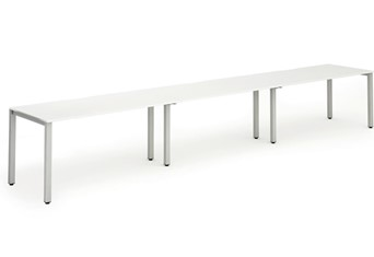 Portland Single 3 Person Bench Desk - 1200mm White Silver