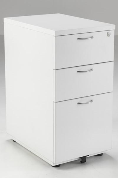 Kestral White 3 Drawer Desk High Pedestal