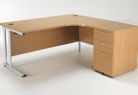 Kestral Crescent Desk And Pedestal