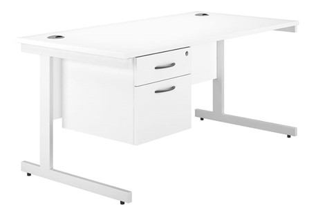 Valoir Cantilever Single Pedestal Desk