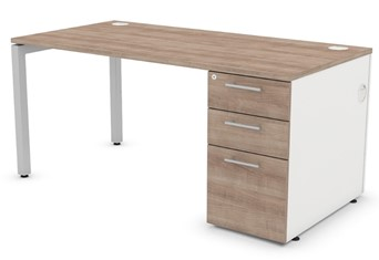 Duty Rectangular Pedestal Desk - Birch 1400mm Right Hand Facing Silver Two Drawers
