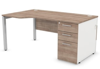 Duty Wave Desk With Cable Management - 1400mm Left Handed Silver Birch