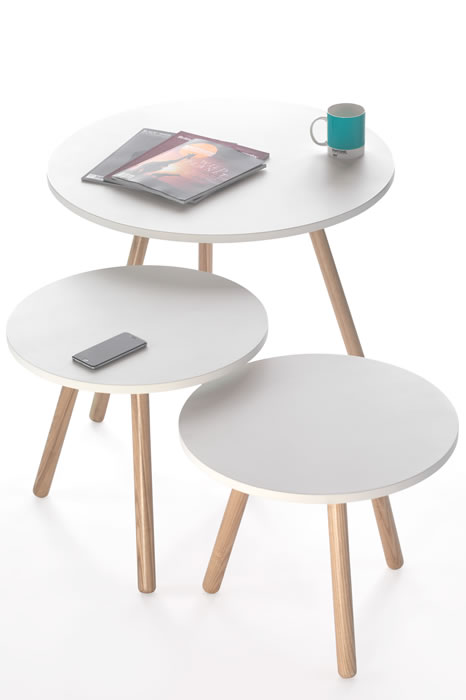 Tripod Low 410mm High Coffee Table - White