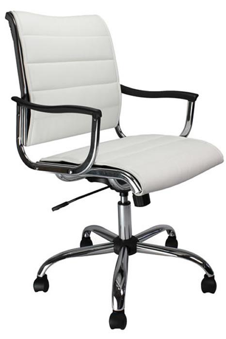 Carbis Designer Swivel Chair White Or Black Leather